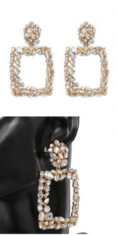 Cercei aurii cu cristale albe