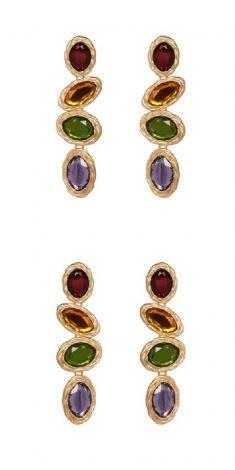 Cercei aurii cu cristale colorate