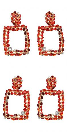 Cercei aurii cu cristale rosii, grena si albe