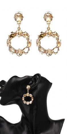 Cercei aurii (rotunzi) cu cristale light brown