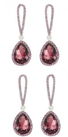 Cercei cu cristale grena si strasuri roz