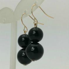 Cercei cu doua perle negre atarnate