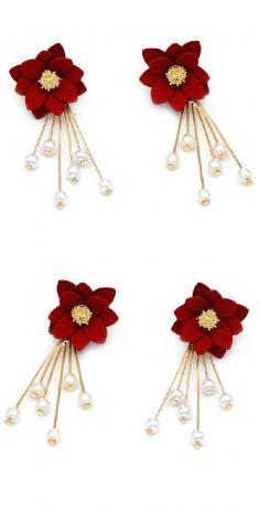 Cercei cu flori rosii