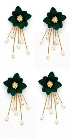 Cercei cu flori verzi si perle