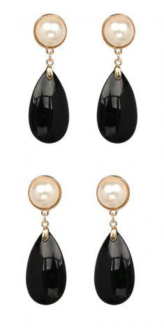 Cercei cu perle si cristal negru
