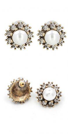 Cercei cu perle si strasuri