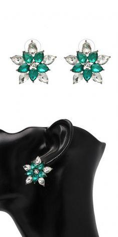 Cercei-floare cu cristale verzi si albe