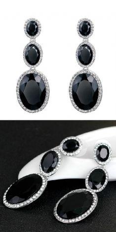 Cercei lungi 3 ovale negre