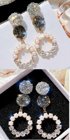 Cercei lungi cu perle si strasuri (cerc)