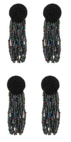 Cercei negri cu siraguri de margele multicolore