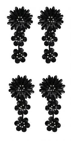 Cercei negri - trei flori
