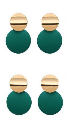 Cercei verzi cu auriu