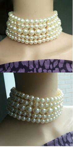Colier alb cu cinci randuri de perle