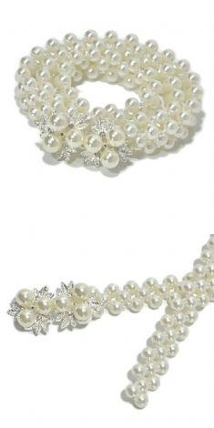 Curea cu perle, catarama argintie