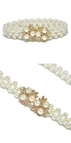 Curea cu perle, catarama doua flori aurii