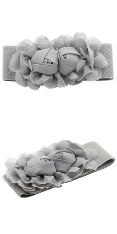 Curea gri elastica, model trandafiri gri