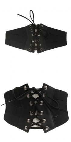 Curea lata neagra tip corset V