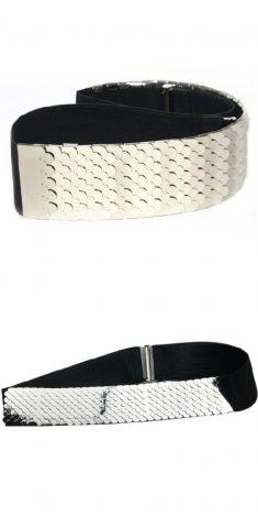 Curea solzi argintii, elastic negru