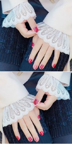 Mansete albe de camasa/pulover - model 2