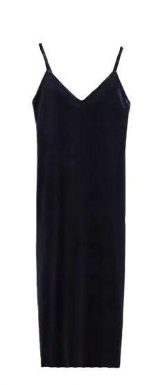 Rochie bleumarin din catifea, cu bretele