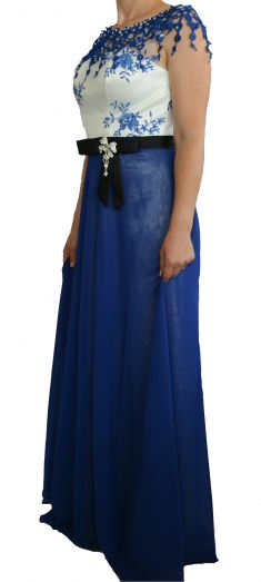 Rochie de seara albastra cu alb, cu broderie