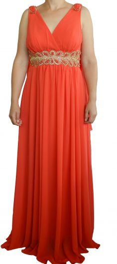 Rochie de seara portocalie cu strasuri si margele
