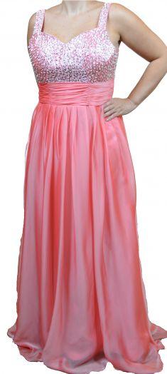 Rochie de seara roz cu paiete si margele
