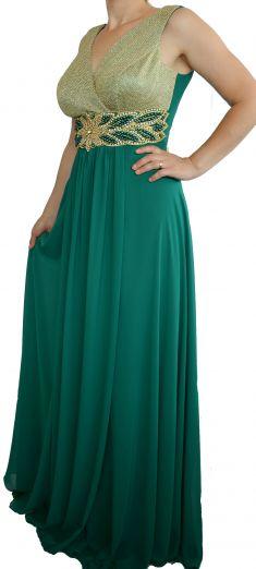 Rochie de seara verde  cu pieptar auriu