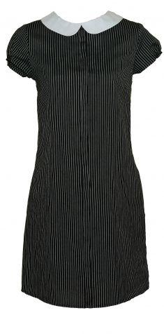Rochie neagra cu dungi verticale albe